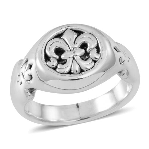 Statement Collection Sterling Silver Fleur De Lis Ring, Silver wt 4.82 Gms.