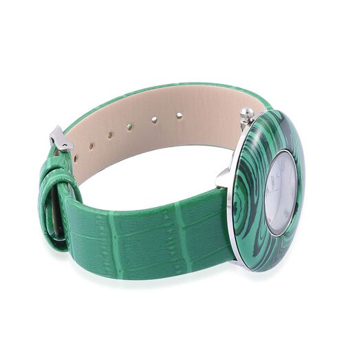 GENOA Japanese Movement Simulated Malachite, White Austrian Crystal Studded Water Resistant Watch with Stainless Steel Back and Green Strap 55.000 Ct.