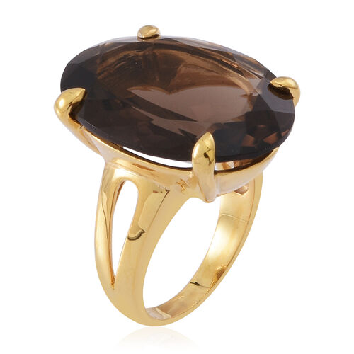 Brazilian Smoky Quartz (Ovl) Ring in 14K Gold Overlay Sterling Silver 22.000 Ct.