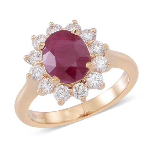 ILIANA 18K Y Gold Rare Size AAAA Burmese Ruby (Ovl 3.00 Ct), Diamond Ring 4.000 Ct.