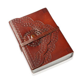 Handmade Paper Notebook with Coral Studded Genuine Leather Embossed Cover (Size 17x12 Cm)