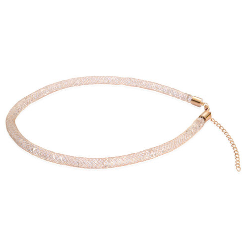 White Glass Fashion Bracelet (Size 8), Necklace (Size 20) In Yellow Gold Tone.