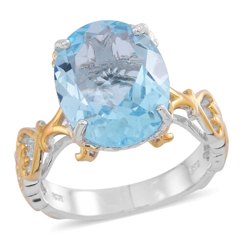 Sky Blue Topaz (Ovl) Ring in Rhodium Plated and Yellow Gold Overlay Sterling Silver 11.500 Ct.