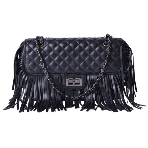 Black Colour Diamond Pattern Shoulder Bag with Tassels (Size 25x16x7 Cm)