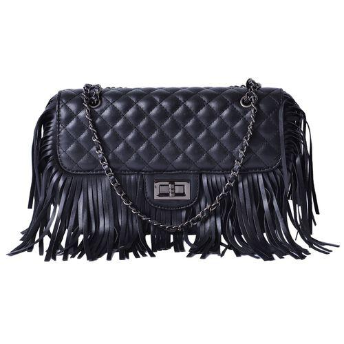 Black Colour Diamond Pattern Shoulder Bag with Tassels (Size 25x16x7 Cm)