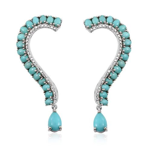 Sonoran Turquoise (Pear), Diamond Earrings (with Push Back) in Platinum Overlay Sterling Silver 7.770 Ct.