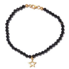 Boi Ploi Black Spinel (Rnd) Bracelet (Size 7.5) with Star  Charm in Yellow Gold Overlay Sterling Silver 16.000 Ct.