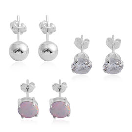 AAA Simulated Opal (Rnd), Simulated Diamond Stud Earrings (with Push Back) in Sterling Silver