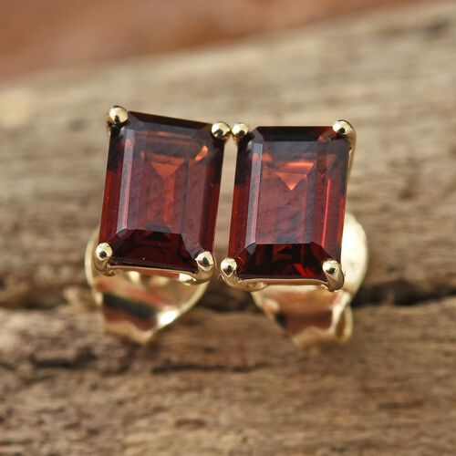 9K Yellow Gold 2.40 Ct AA Mozambique Garnet Stud Earrings (with Push Back)