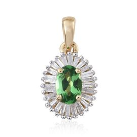 One Time Deal- 9K Yellow Gold AAA Tsavorite Garnet (Ovl), Diamond Pendant 0.850 Ct.