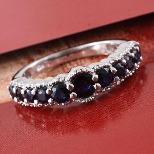 Kanchanaburi Blue Sapphire (Rnd) Ring in Platinum Overlay Sterling Silver 1.160 Ct.
