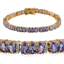 AA Tanzanite (Ovl), Diamond Bracelet in 14K Gold Overlay Sterling Silver (Size 7.5) 11.580 Ct.