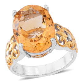 Rare AAA Uruguay Citrine (Ovl) Ring in Yellow Gold and Rhodium Plated Sterling Silver 8.000 Ct.