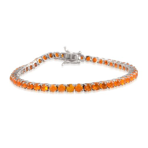 Orange Ethiopian Opal (Rnd) Bracelet in Platinum Overlay Sterling Silver (Size 8) 6.750 Ct.