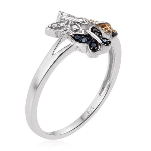 White Diamond (Rnd), Blue and Yellow Diamond Butterfly Ring in Platinum Overlay Sterling Silver