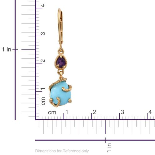 Arizona Sleeping Beauty Turquoise (Pear), Amethyst Lever Back Earrings in 14K Gold Overlay Sterling Silver 3.050 Ct.