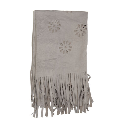 Laser Cut Pattern Grey Colour Scarf with Fringes (Size 120x70 Cm)