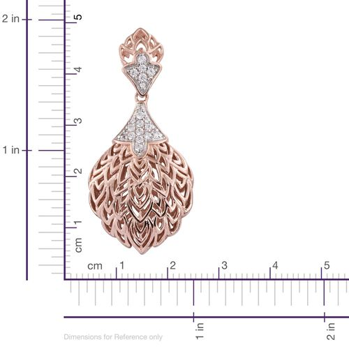 J Francis - Rose Gold Overlay Sterling Silver (Rnd) Pendant Made with SWAROVSKI ZIRCONIA, Silver wt 5.52 Gms.