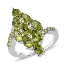 Designer Inspired-AAA Hebei Peridot (Pear) Ring in Sterling Silver 5.000 Ct.