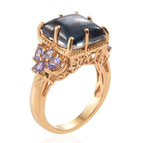 Indicolite Quartz and Tanzanite Ring in 14K Gold Overlay Sterling Silver 9.750 Ct.