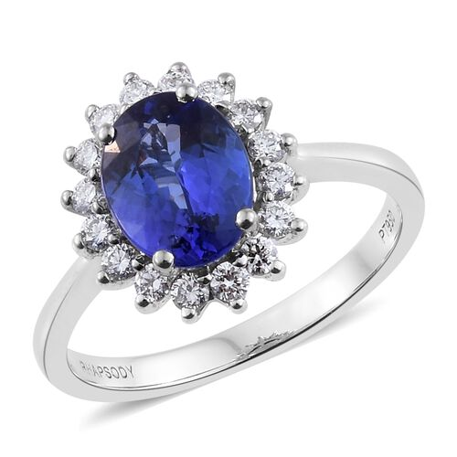 RHAPSODY 950 Platinum 2.25 Ct AAAA Tanzanite Halo Ring with Diamond (VS/F)