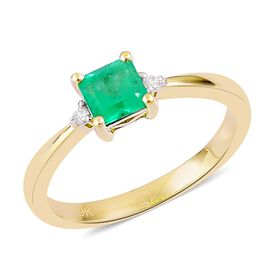 9K Yellow Gold 0.45 Ct Boyaca Colombian Emerald, Diamond Ring