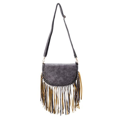 Dark Grey Colour Crossbody Bag with Tassels and Adjustable and Removable Shoulder Strap (Size 25.5x17.5x8.5 Cm)