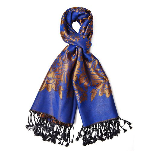 Blue and Copper Colour Knitted Floral Pattern Scarf with Tassels (Size 170X70 Cm)