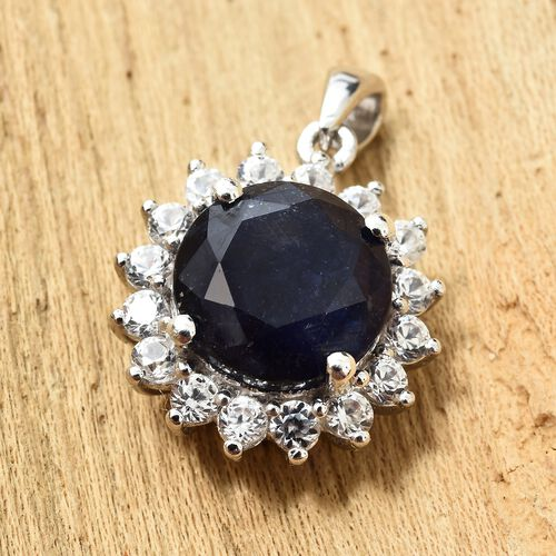 Masoala Sapphire (Rnd 5.25 Ct), Natural Cambodian Zircon Pendant in Platinum Overlay Sterling Silver 6.250 Ct.