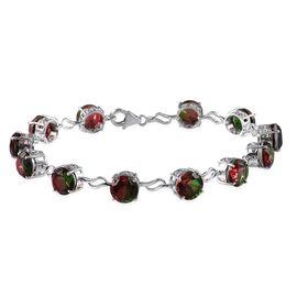 Tourmaline Colour Quartz (Rnd) Bracelet in Platinum Overlay Sterling Silver (Size 8.5) 22.000 Ct.