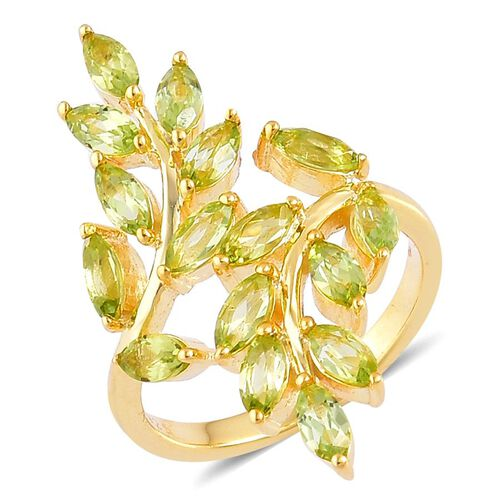 AA Hebei Peridot (Mrq) Leaves Crossover Ring in Yellow Gold Overlay Sterling Silver 2.500 Ct.