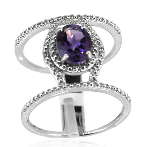 Amethyst (Ovl 1.60 Ct), White Topaz Ring in Rhodium Plated Sterling Silver 1.620 Ct.