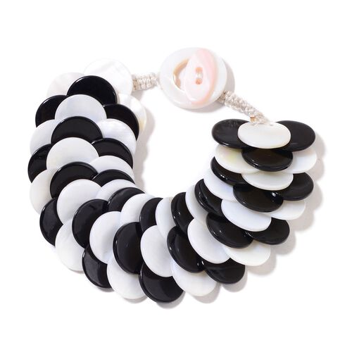 Black and White Shell Coin Bracelet (Size 7.5) and Hook Earrings in Silver Tone
