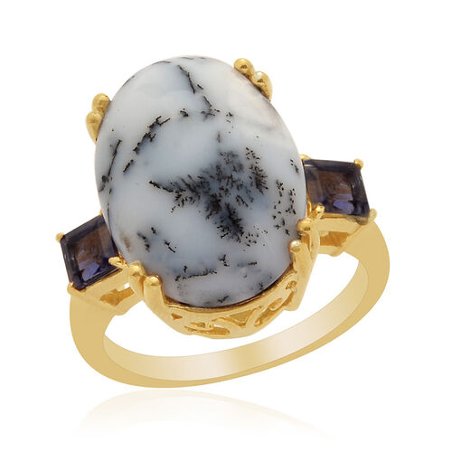 Dendritic Opal (Ovl 9.00 Ct), Iolite Ring in 14K Gold Overlay Sterling Silver 9.250 Ct.