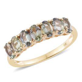 9K Yellow Gold 1.50 Carat AA Natural Green Tanzanite 7 Stone Ring