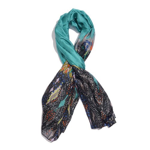 100% Mulberry Silk Blue, Black and Multi Colour Handscreen Printed Scarf (Size 170X50 Cm)