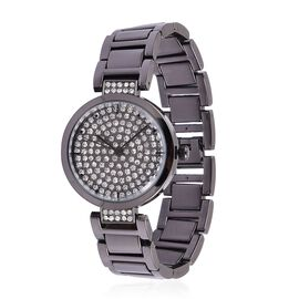 GENOA Japanese Movement White Austrian Crystal Studded Dial Water Resistant Watch in Black Tone with Stainless Steel Back and Chain Strap