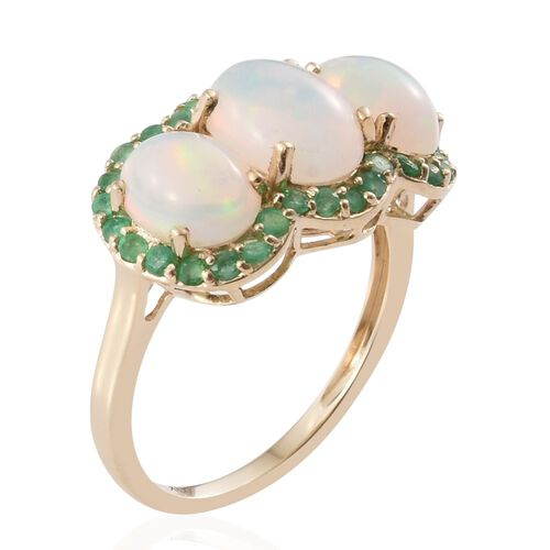 9K Y Gold AAA Ethiopian Welo Opal (Ovl 1.15 Ct), Brazilian Emerald Ring 3.150 Ct.