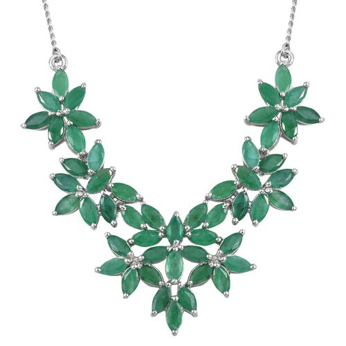 Kagem Zambian Emerald (Mrq) Floral Necklace (Size 18) in Platinum Overlay Sterling Silver 11.000 Ct.