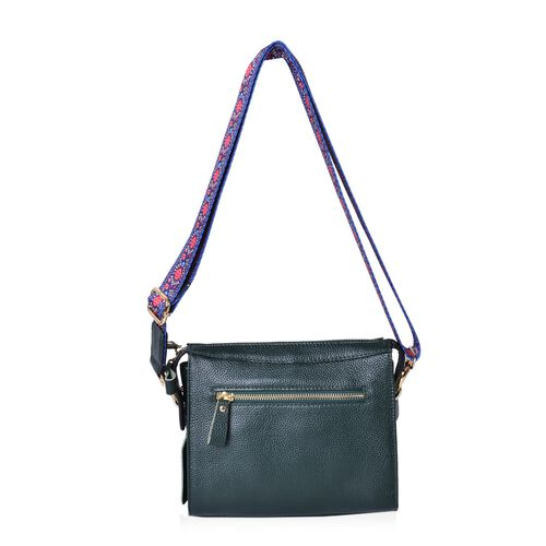 Cyber Weekend Deal - 100% Genuine Leather Green Colour Crossbody Bag with Tassel Charm and Colourful Adjustable and Removable Shoulder Strap (Size 21.5X18.5X8.5 Cm)