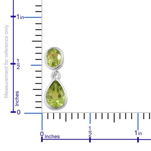 AA Hebei Peridot (Pear) Earrings (with Push Back) in Platinum Overlay Sterling Silver 2.400 Ct.