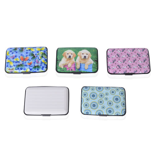 Set of 5 Butterfly Print RFID Blocking Card Holder (Size 11x7.5 Cm)