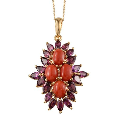 Natural Mediterranean Coral (Ovl), Rhodolite Garnet Pendant with Chain in 14K Gold Overlay Sterling Silver 6.750 Ct.