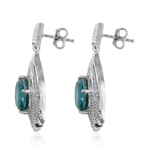 Peacock Quartz (Ovl) Earrings (with Push Back) in Platinum Overlay Sterling Silver 5.750 Ct.