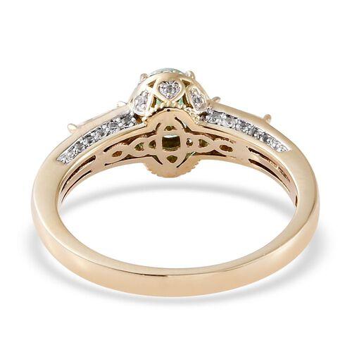 9K Y Gold Boyaca Colombian Emerald (Ovl), Natural Cambodian Zircon Ring 1.850 Ct.Gold Wt 3.80 Gms.
