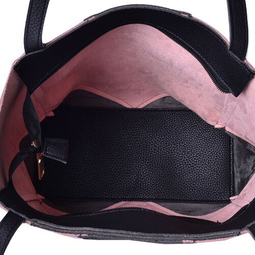 NEW SPRING COLLECTION Dark Pink and Black Colour Tote Bag (Size 32x27x12 Cm)
