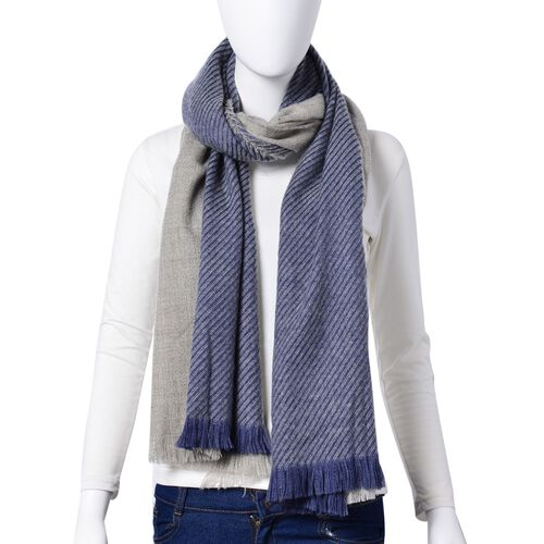 Designer Inspired-Dark Blue and Grey Colour Stripes Pattern Blanket Shawl (Size 200X75 Cm)
