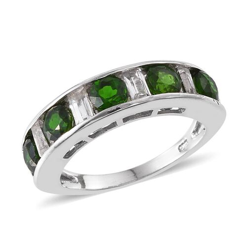 Russian Diopside (Rnd), White Topaz Half Eternity Band Ring in Platinum Overlay Sterling Silver 2.250 Ct.