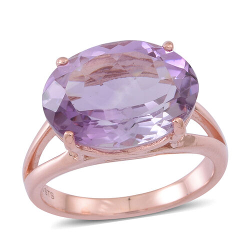 Rose De France Amethyst (Ovl) Ring in Rose Gold Overlay Sterling Silver 8.500 Ct.