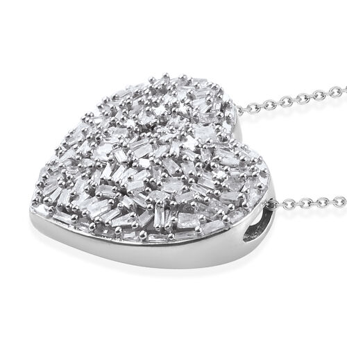 GP Diamond (Bgt), Kanchanaburi Blue Sapphire Heart Pendant with Chain in Platinum Overlay Sterling Silver 1.020 Ct. Number of Diamonds 128